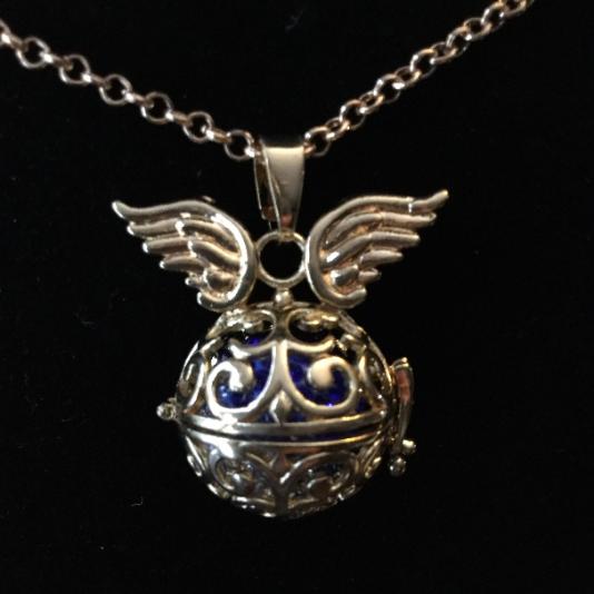 silver, pendant, locket, harmony ball, necklace, chain, round, angel wings, jingle, harmony, blue, rhinestone, filigre