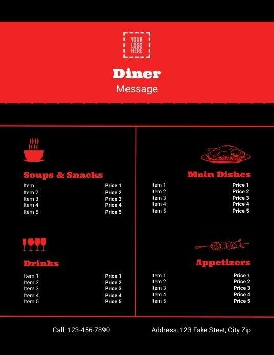 Editable Diner Menu