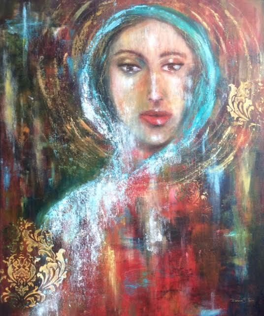 Oil painting, Figurative painting, Angel, Figures painted in oil and cold wax medium artwork, mixed media artwork, abstract figure, painting of soul, ethereal art, inspirational art