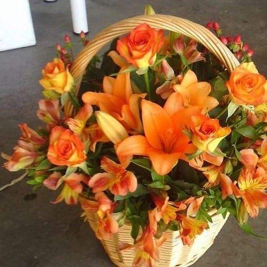 Orange flowers in a basket