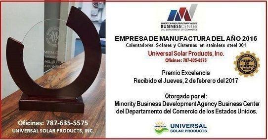 Premio mejor fabricante de cisternas y calentadores solares en Puerto Rico