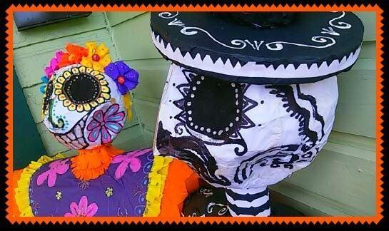 custom day of the dead display decorations pinatas