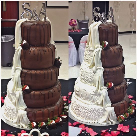 Chocolate and White Wedding Cake made for Fondant.