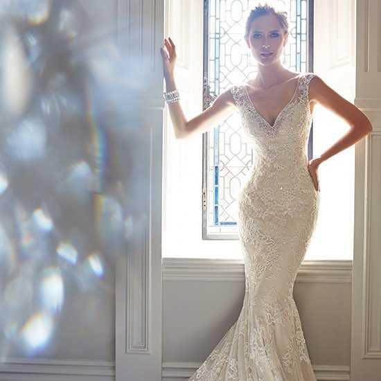 Sophia Tolli wedding dress, Sophia Tolli, fit and flare wedding dress, lace wedding dress, dipped back wedding dress, illusion back wedding dress, wedding dress with illusion back , sweetheart neck wedding dress, sparkly wedding dress, wedding dress with straps