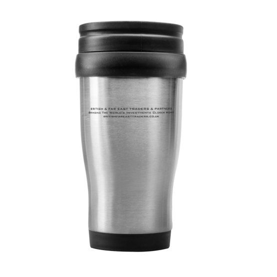 british & far east traders & partners, insulating mug, promotional materials, marketing materials