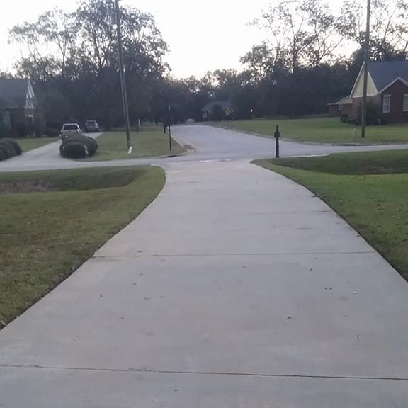 After pressure washing of a driveway