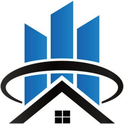 aptexpert logo, roof with windows, circle encompassing 3 hi-rise buildings