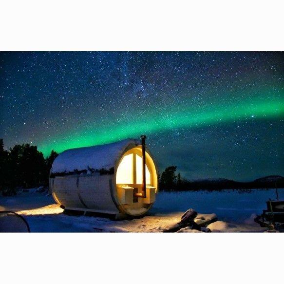 Sauna, northern light, aurora, Kiruna
