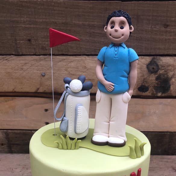 Birthday Cake golf green 30th bag clubs golfer