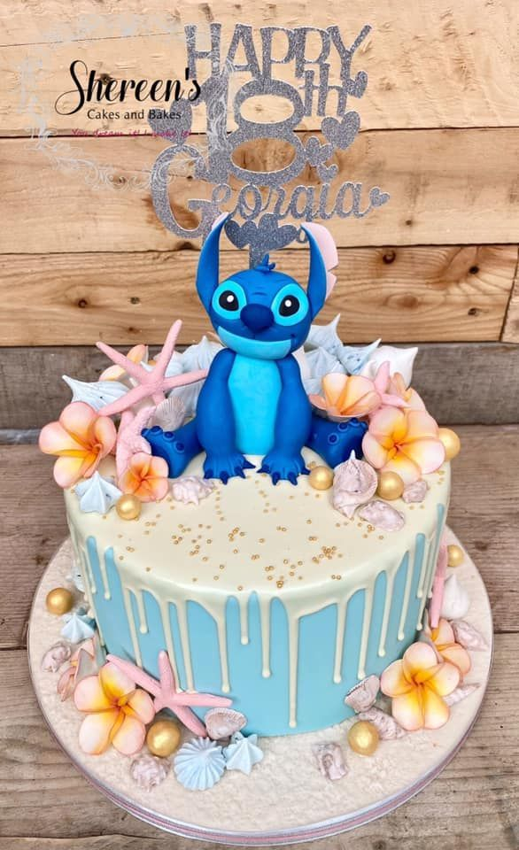 Topped with Stitch, flowers and starfish
