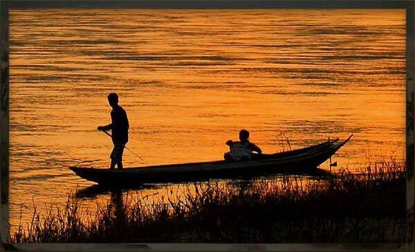 fishing, boat, sunrise, river, red river, scenic