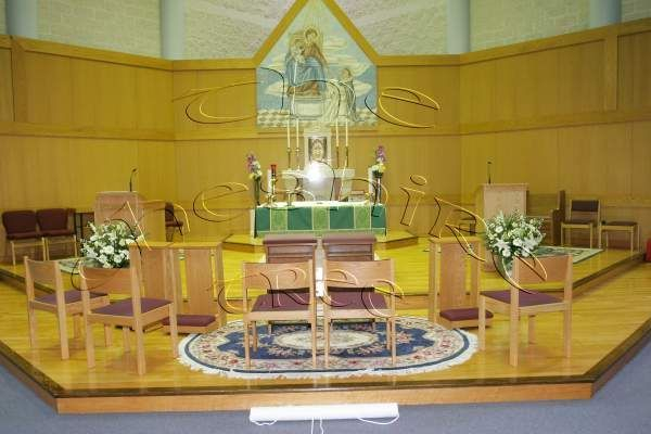 A view of the altar area at Holy Rosary in Hawthorne, New York.