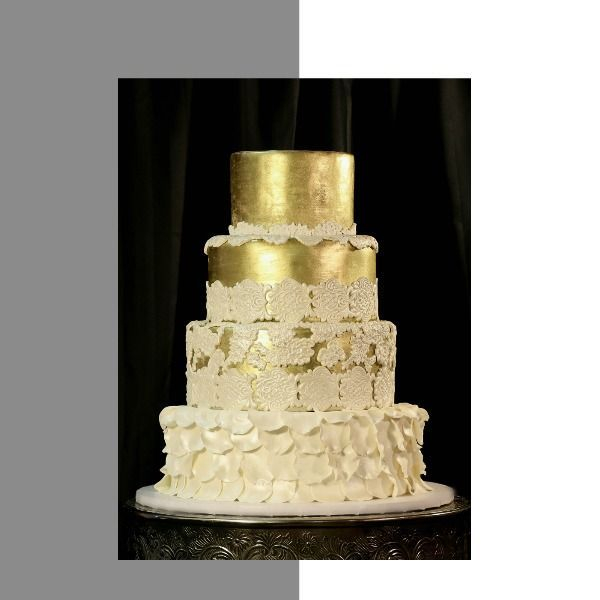 Gold lace wedding cake metallic wedding cake