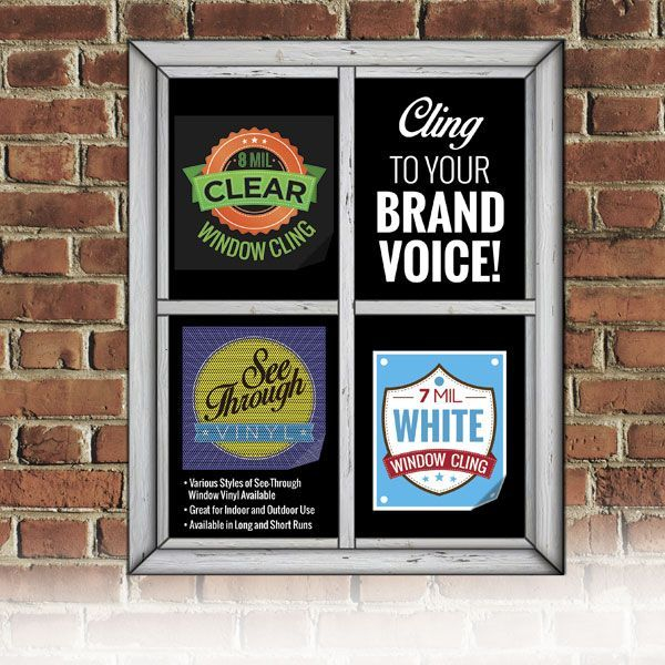 Clear White Cling Window Sign
