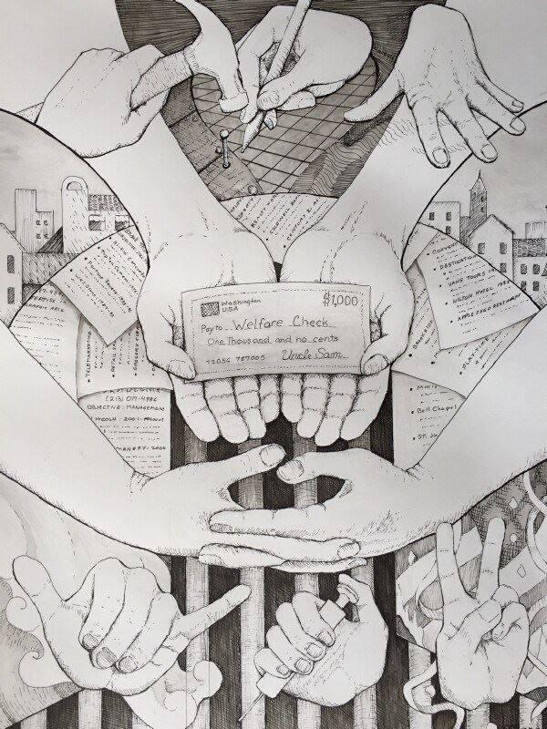 Unemployment, Welfare, idle hands, Modern Art, drawing, Manasse