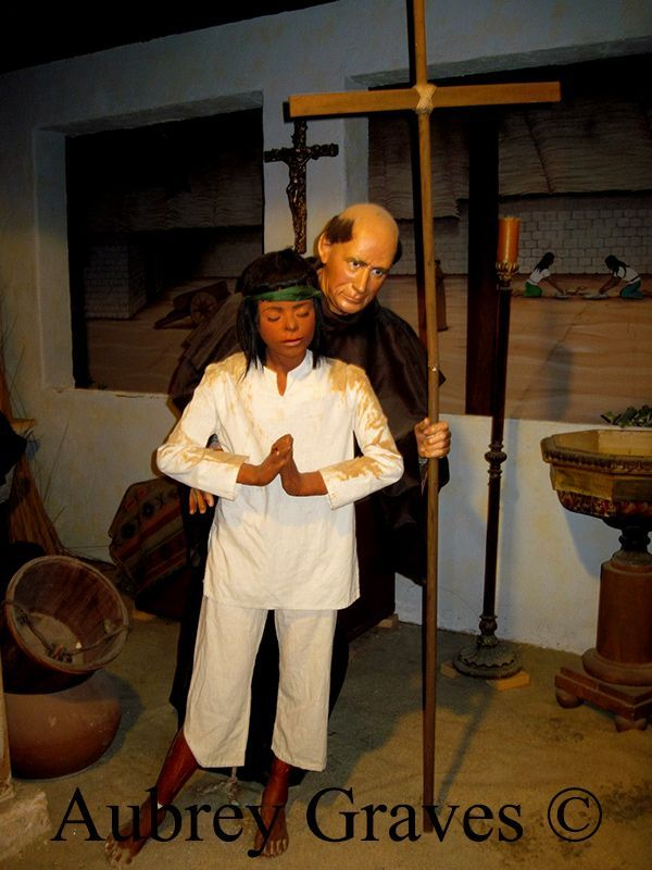 California Mission scene, The Spirit of Monterey Wax Museum, Monterey, CA