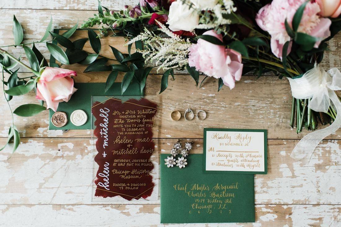 Hand painted acrylic, wedding invitations suite, gold calligraphy, RSVP return card, envelope seals