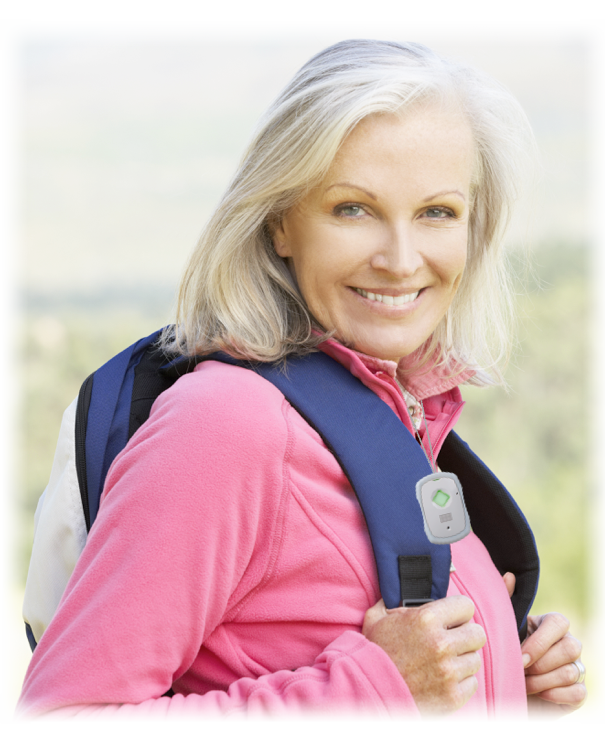 Women hiking and wearing the GPS Safe on the go device