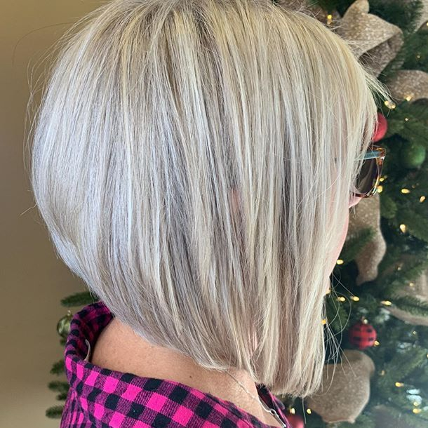 mid length layered bob.. highlights and lowlights for gray blending