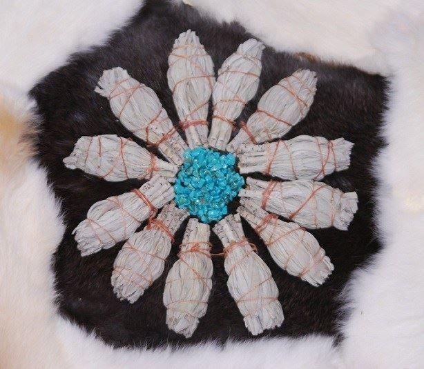 Mini smudge sticks flower pattern turq