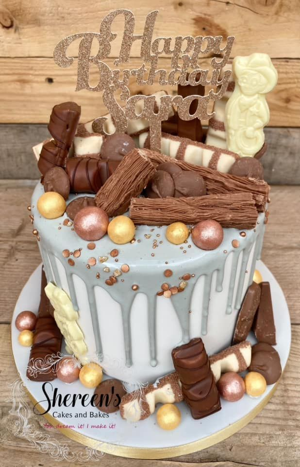 Topped with favourite chocolates