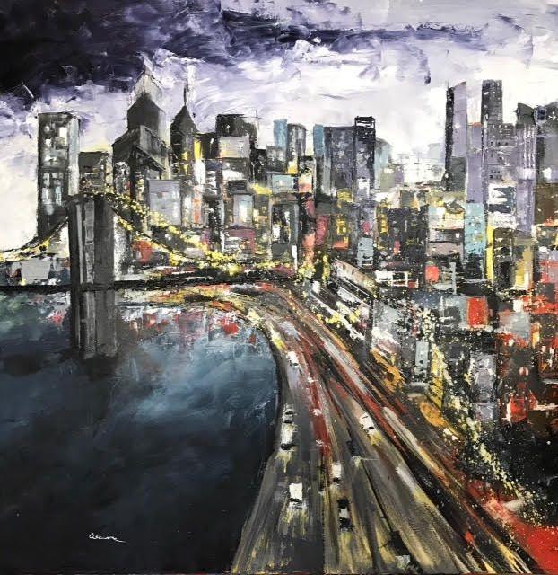 olio su tela città