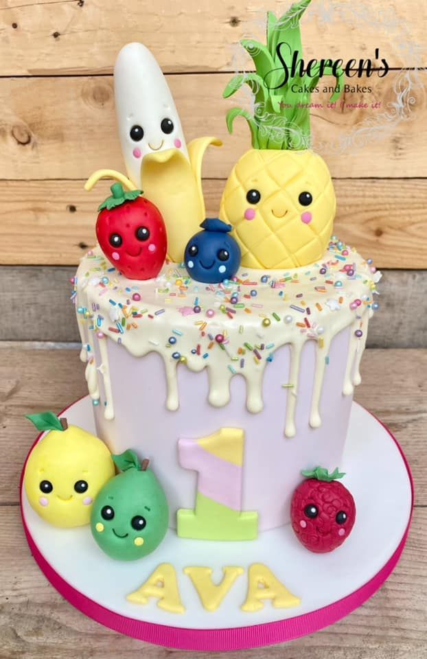 Topped with cute little kawaii fruit