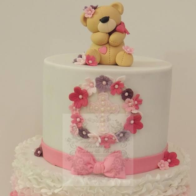 Teddy Birthday Girl Cake Celebration Christening Baby Shower Pink Ruffles Flowers