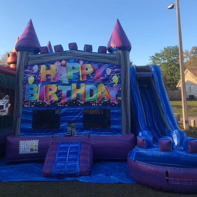 Happy Birthday Purple Castle Water slide Combo