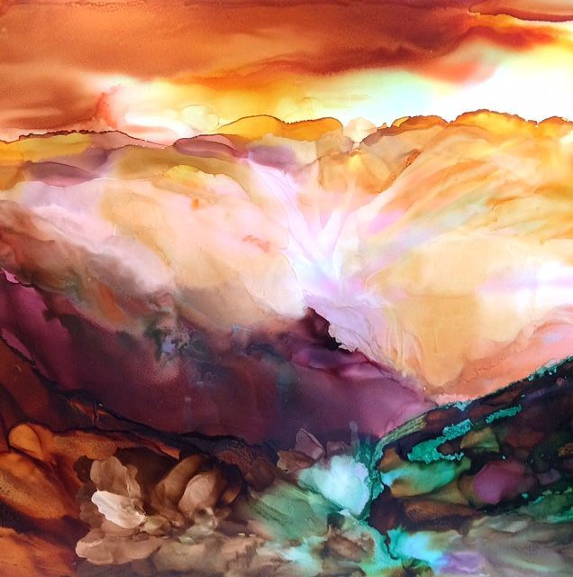 Heaven painting, heavenly valley, alcohol ink painting, abstract alcohol ink landscape, landscape painting, ethereal landscape painting, alcohol ink artist. ethereal art