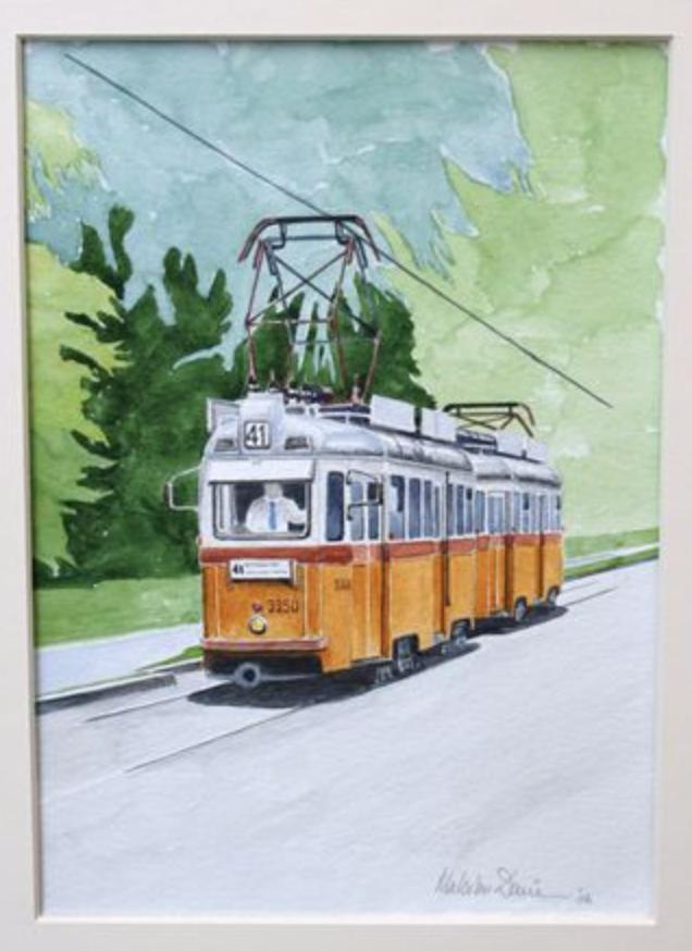 Budapest UV Tram - watercolour : SOLD