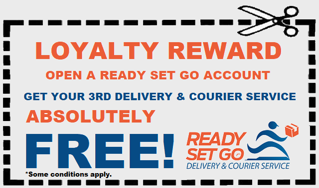 Coupon, Free Delivery Credit, Courier Discount, Referral, Ready Set Go, RSG, Same Day Courier, YVR