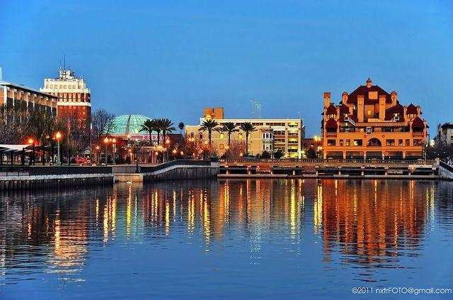 Beautiful Cityscape picture of Downtown Stockton, CA. Waterfront Area. Chris Mullen, Locksmith Service. www.csmlocksmith.com