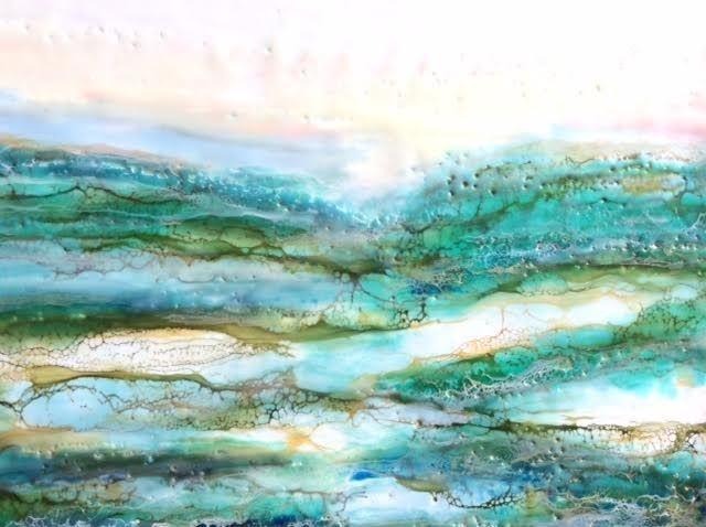 Encaustic landscape painting, encaustic seascape, beach painting, shoreline painting, cottage art, beach art, water painting, encaustic with shellac painting, abstract beach painting, ethereal art