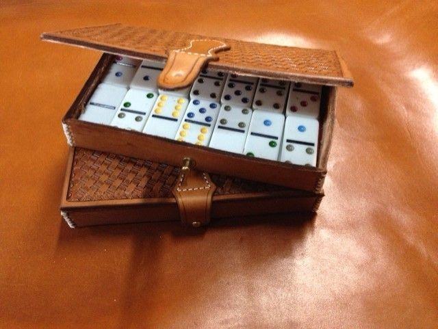 Tooled dominoe case , leather dominoe case , basket weave leather ,