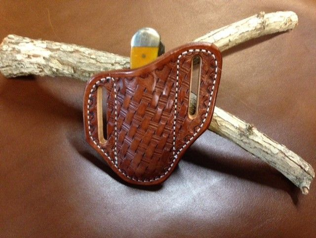 Basket weave sheath , trapper sheath , trapper holster , pancake sheath ,