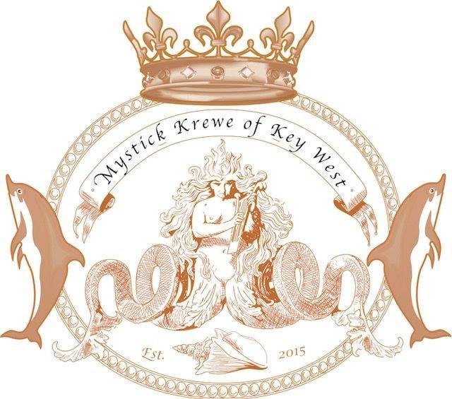 Mystick Krewe of Key West crown, dolphin, shell & sea creature logo