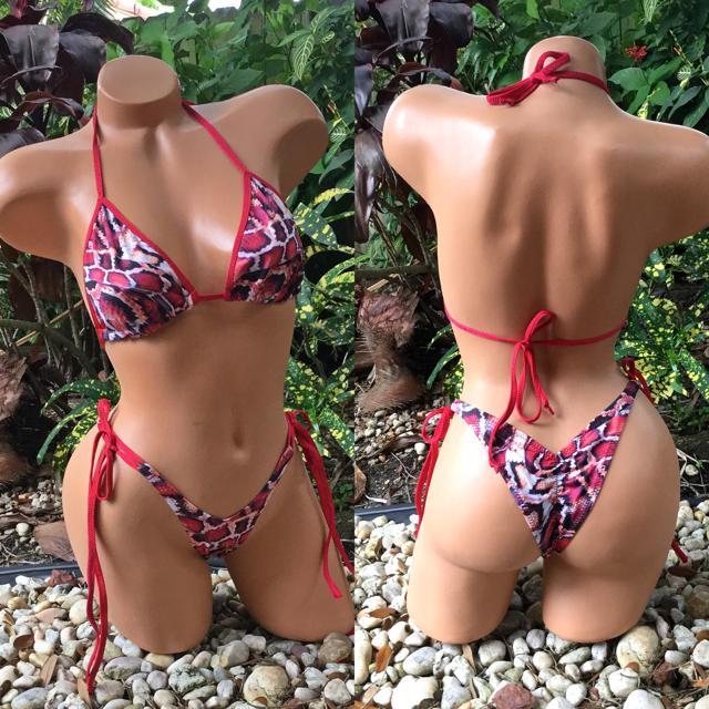 red snakeskin  swimsuit