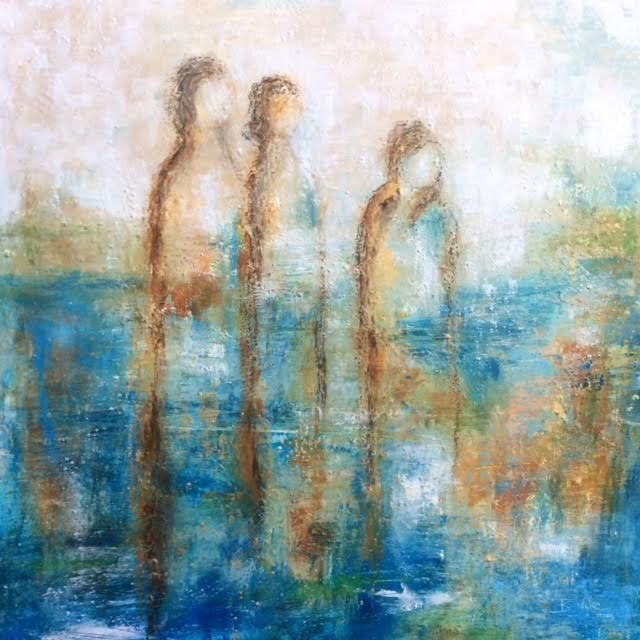 Oil painting, Figurative painting, Angel, Figures painted in oil and cold wax medium artwork, mixed media artwork, abstract figure, painting of soul, ethereal art, inspirational art, Spirits