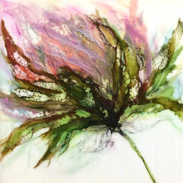 encaustic botanical, encaustic floral, abstract floral painting, pink and greens, alcohol ink painting, encaustic artist, alcohol ink artist, mixed media artist