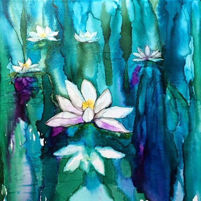 Lotus Flowers, Water Lilies, alcohol ink painting, abstract floral alcohol ink, inspirational art, zen art, yoga art