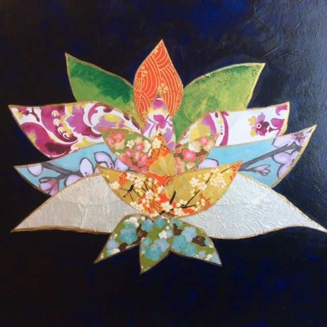 collage art work, lotus flower collage, acrylic and collage, inspirational art, zen art, yoga art, meditative art, paper art