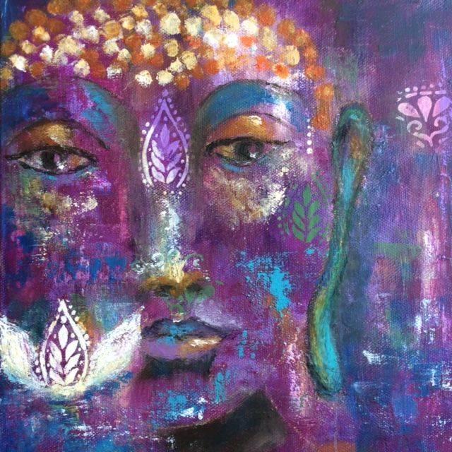 Angel painting, oil and cold wax paBuddha Artwork, Buddha painting, Lotus flower painting, Yoga studio art, zen art, ethereal art, inspirational art, mixed media art