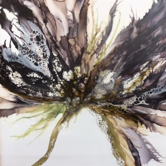 Encaustic botanical, Black floral,  encaustic floral, abstract floral painting, alcohol ink painting, encaustic artist, alcohol ink artist, mixed media artist, encaustic artist