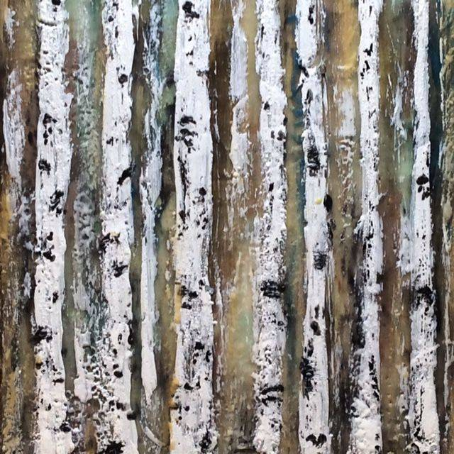 Birch Trees, Encaustic on cradled birch, Art And Soul By The Lake