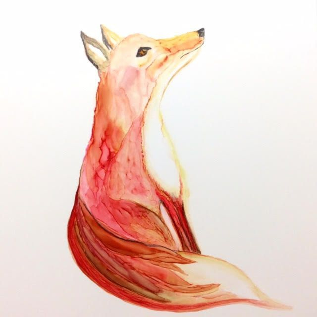 Fox Nursery Art; Alcohol Ink Painting