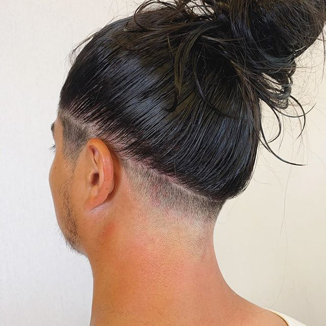 Mens cut .. faded into ponytail