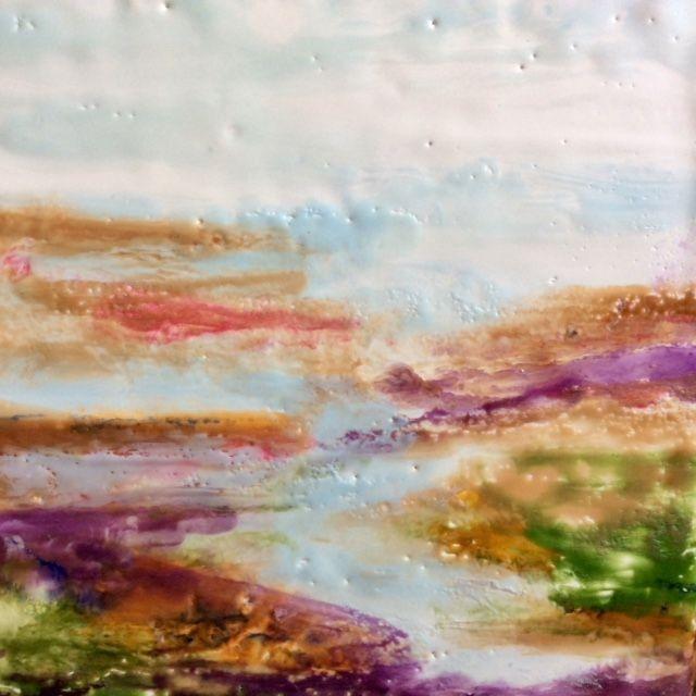 Encaustic Landscape Painting, Encaustic and oil seascape landscape painting, Encaustic beach painting, ethereal landscape painting,  abstract encaustic water scene