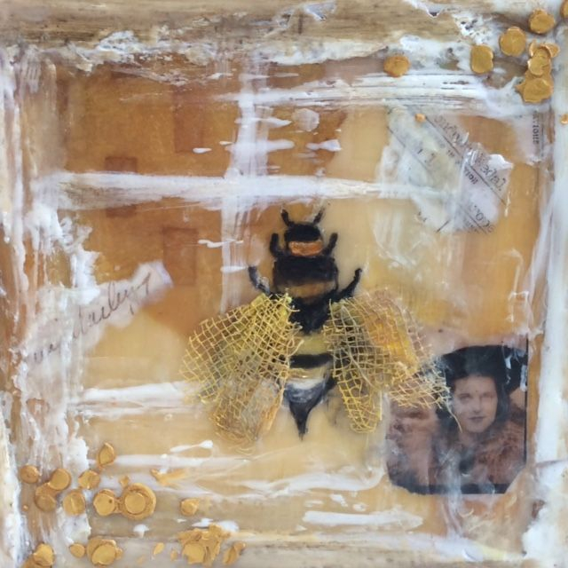 Encaustic Collage Abstract Bee Painting, by Barbara Polc