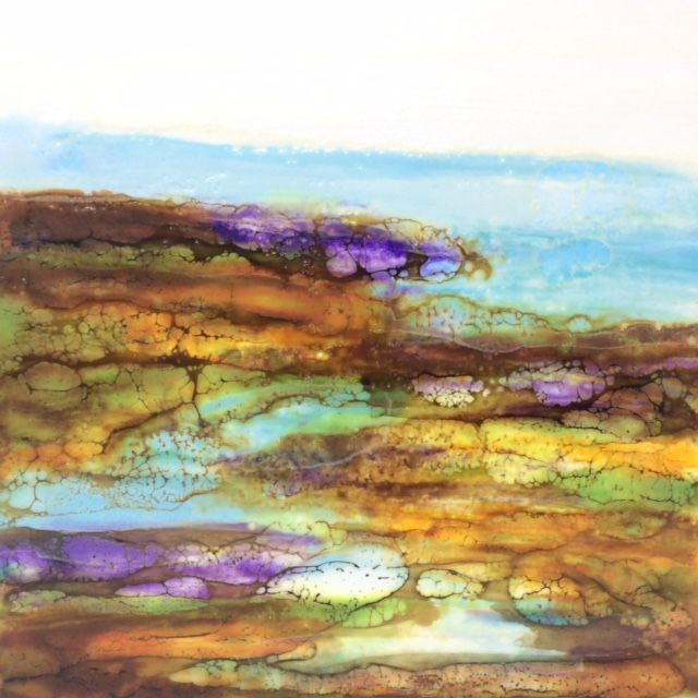 Encaustic Landscape Painting by Barbara Polc, Encaustic Seascape, Beach painting, wax art beach painting, shoreline painting, cottage art, Encaustic and Shellac burn